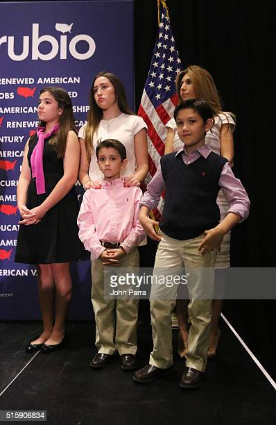 Republican presidential candidate US Senator Marco Rubio not Shown and his family daughters Amanda Daniella Anthony and Dominick and wife Jeanette...