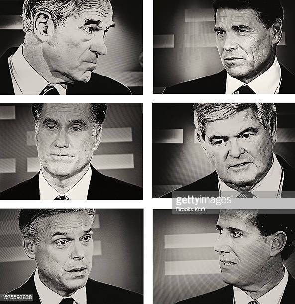 Republican presidential candidates appear on a television monitor during the Republican debate in Manchester NH From the top left are Ron Paul Rick...
