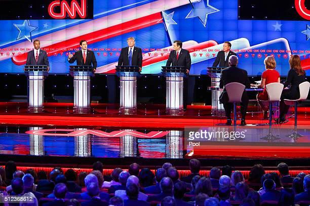 Republican presidential candidates Ben Carson Sen Marco Rubio Donald Trump Sen Ted Cruz and Ohio GovJohn Kasich debate at the Moores School of Music...