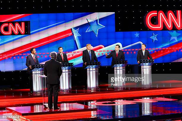 Republican presidential candidates Ben Carson Sen Marco Rubio Donald Trump Sen Ted Cruz and Ohio GovJohn Kasich debate at the Moores School of Music...