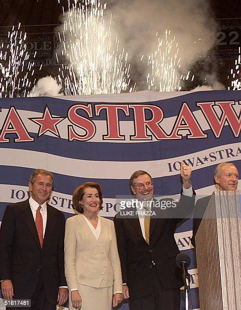 Republican presidential candidates candidates are introduced 14 August 1999 at the Republican Party Straw Poll in Ames Iowa From left are George Bush...