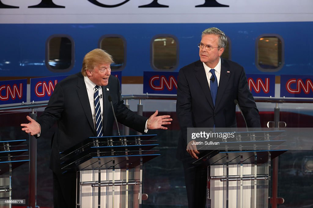 Republican presidential candidates Donald Trump and Jeb Bush take part in the presidential debates at the Reagan Library on September 16, 2015 in Simi Valley, California. Fifteen Republican presidential candidates are participating in the second set of Republican presidential debates.