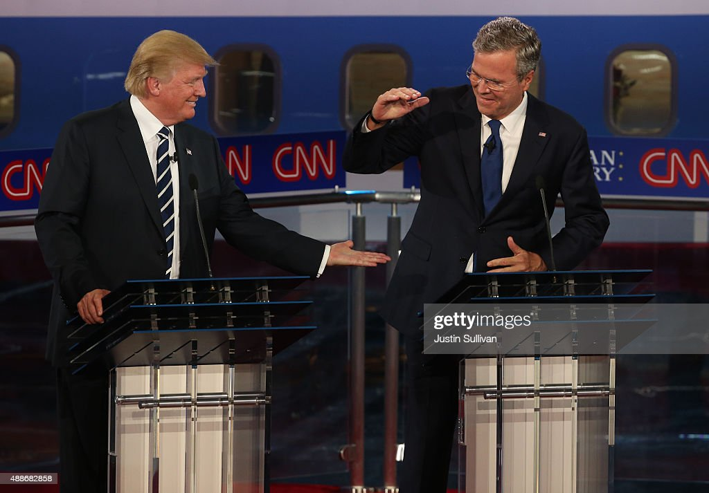 Republican presidential candidates Donald Trump (L) and Jeb Bush take part in the presidential debates at the Reagan Library on September 16, 2015 in Simi Valley, California. Fifteen Republican presidential candidates are participating in the second set of Republican presidential debates.