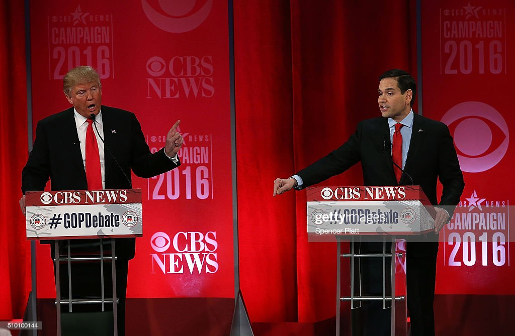 Republican presidential candidates (L-R) Donald Trump and Sen. Marco Rubio (R-FL) participate in a CBS News GOP Debate February 13, 2016 at the Peace Center in Greenville, South Carolina. Residents of South Carolina will vote for the Republican candidate at the primary on February 20.