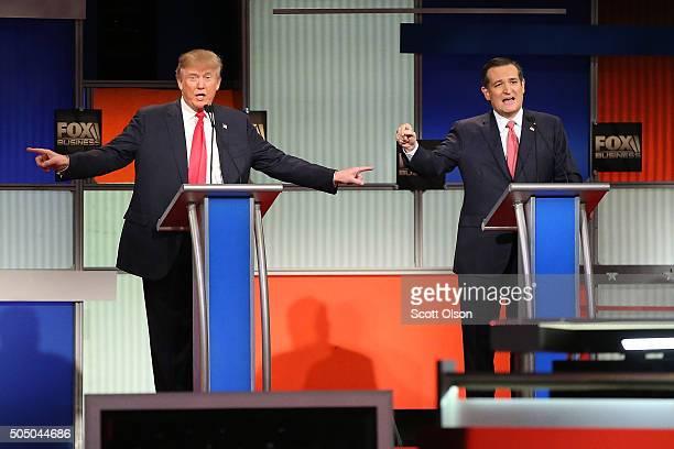 Republican presidential candidates Donald Trump and Sen Ted Cruz participate in the Fox Business Network Republican presidential debate at the North...