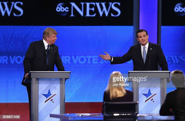 Republican presidential candidates Donald Trump and Sen Ted Cruz participate in the Republican presidential debate at St Anselm College February 6...
