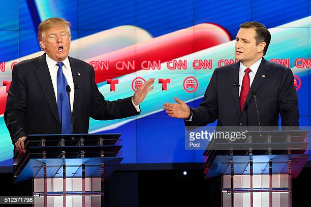 Republican presidential candidates Donald Trump and Sen Ted Cruz during the Republican presidential debate at the Moores School of Music at the...