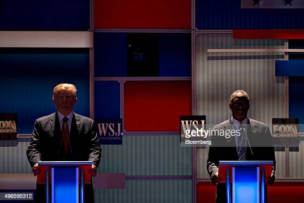 Republican presidential candidates Donald Trump president and chief executive of Trump Organization Inc left and Ben Carson a retired neurosurgeon...