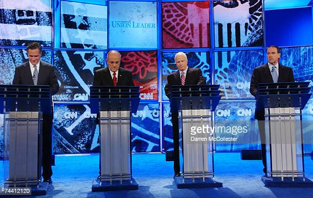 Republican presidential candidates former Massachusetts Governor Mitt Romney former New York City Mayor Rudolph W Giuliani US Sen John McCain and...
