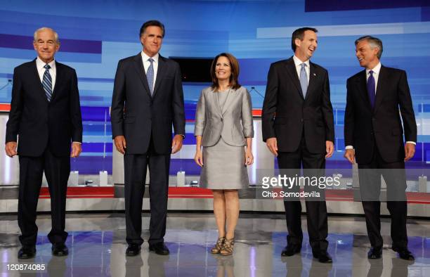 Republican presidential candidates former Rep Ron Paul former Massachusetts Governor Mitt Romney Rep Michele Bachmann former Minnesota Governor Tim...