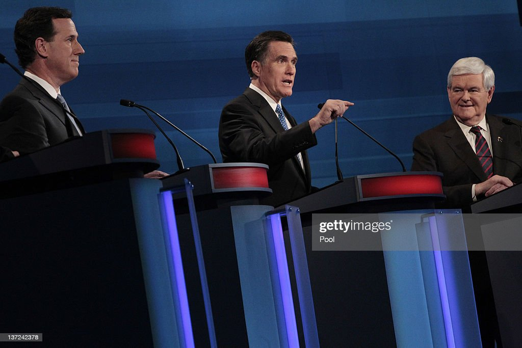Republican presidential candidates (L-R) former U.S. Sen. Rick Santorum of Pennsylvania, former Massachusetts Gov. Mitt Romney and former U.S. House Speaker Newt Gingrich participate in a Fox News, Wall Street Journal-sponsored debate at the Myrtle Beach Convention Center on January 16, 2012 in Myrtle Beach, South Carolina. Voters in South Carolina will head to the polls on January 21 to vote in the Republican primary election to pick their choice for U.S. presidential candidate.