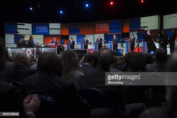 Republican presidential candidates from left John Kasich governor of Ohio Chris Christie governor of New Jersey Senator Marco Rubio a Republican from...