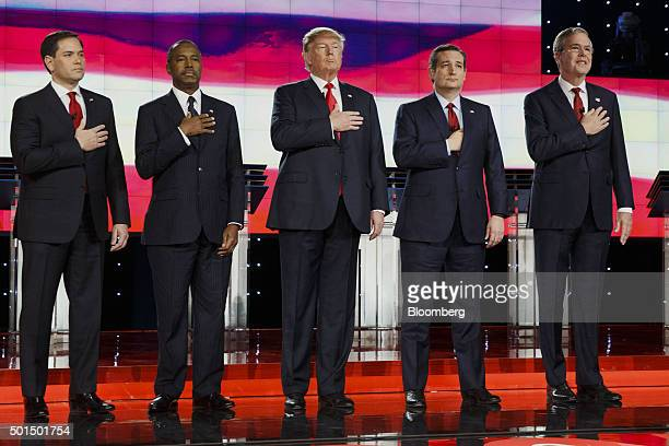 Republican presidential candidates from left Senator Marco Rubio a Republican from Florida Ben Carson a retired neurosurgeon Donald Trump president...