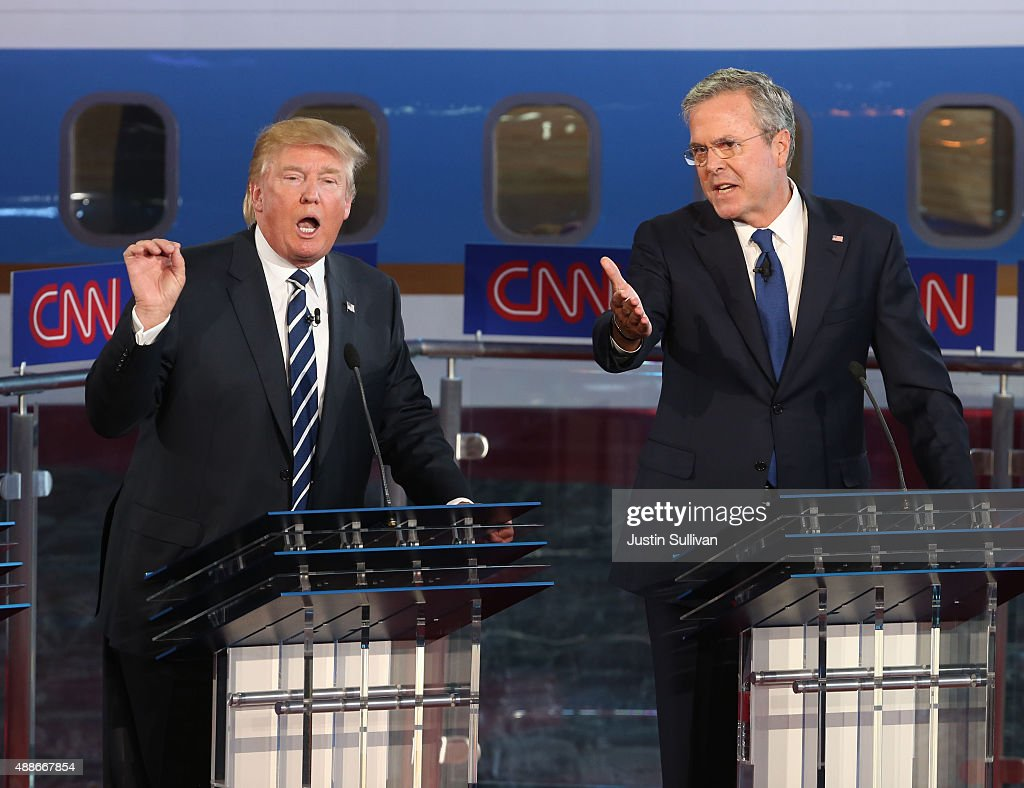Republican presidential candidates Jeb Bush and Donald Trump take part in the presidential debates at the Reagan Library on September 16, 2015 in Simi Valley, California. Fifteen Republican presidential candidates are participating in the second set of Republican presidential debates.
