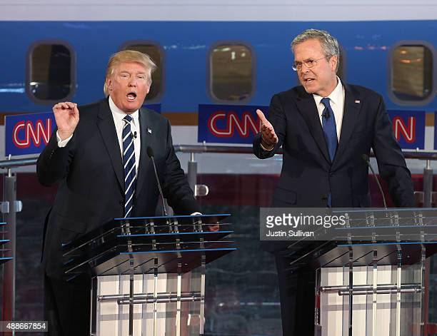 Republican presidential candidates Jeb Bush and Donald Trump take part in the presidential debates at the Reagan Library on September 16, 2015 in...