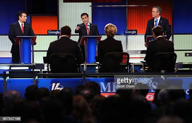 Republican presidential candidates Jeb Bush Sen Marco Rubio and Sen Ted Cruz participate in the Fox News Google GOP Debate January 28 2016 at the...