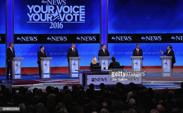 Republican presidential candidates Jeb Bush Sen Marco Rubio Donald Trump Sen Ted Cruz Ben Carson and New Jersey Governor Chris Christie participate...