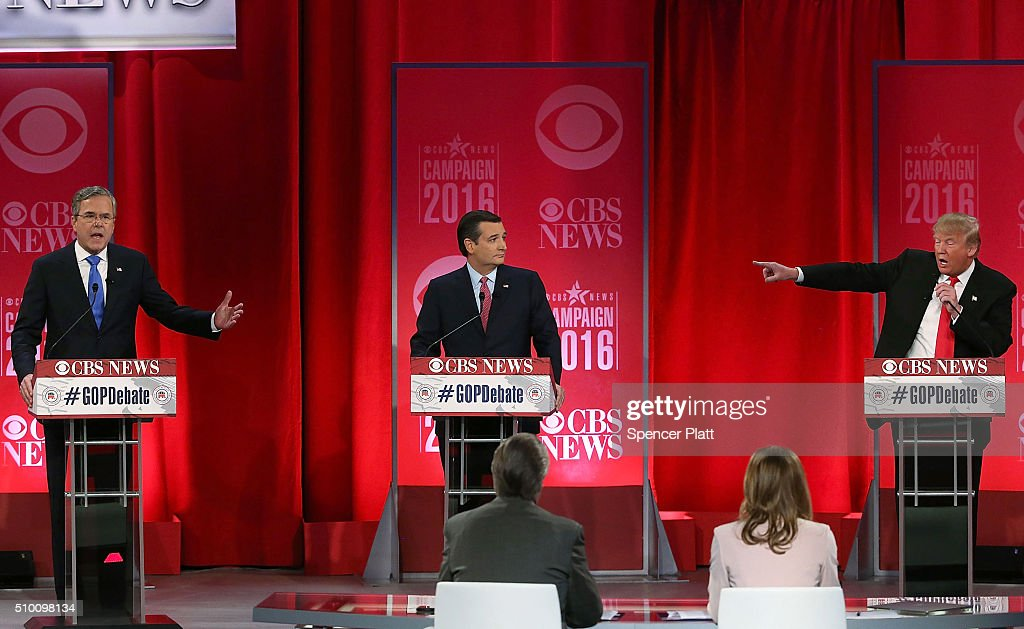 Republican presidential candidates (L-R) Jeb Bush, Sen. Ted Cruz (R-TX) and Donald Trump participate in a CBS News GOP Debate February 13, 2016 at the Peace Center in Greenville, South Carolina. Residents of South Carolina will vote for the Republican candidate at the primary on February 20.