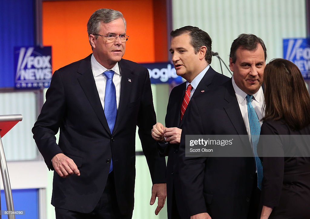 Republican presidential candidates (L-R) Jeb Bush, Sen. Ted Cruz (R-TX) and New Jersey Governor Chris Christie after the Fox News - Google GOP Debate January 28, 2016 at the Iowa Events Center in Des Moines, Iowa. Residents of Iowa will vote for the Republican nominee at the caucuses on February 1. Donald Trump, who is leading most polls in the state, decided not to participate in the debate.
