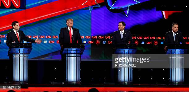 Republican Presidential candidates Marco Rubio Donald Trump Ted Cruz and John Kasich participate in the CNN Presidential Debate March 10 2016 in...