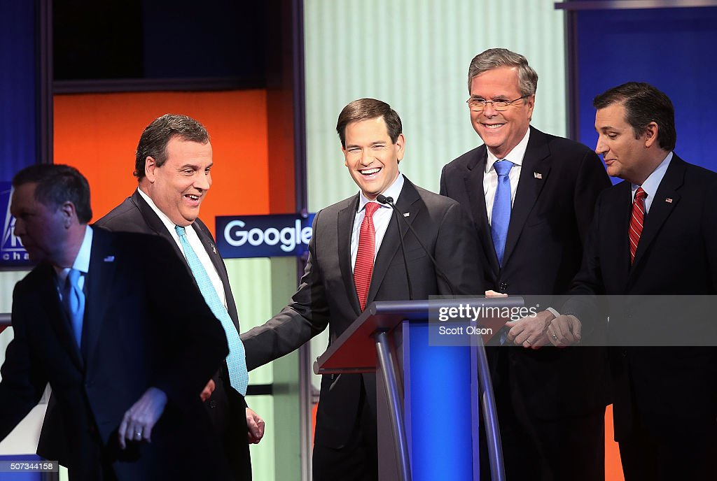 Republican presidential candidates (L-R) New Jersey Governor Chris Christie, Sen. Marco Rubio (R-FL), Jeb Bush and Sen. Ted Cruz (R-TX) after the Fox News - Google GOP Debate January 28, 2016 at the Iowa Events Center in Des Moines, Iowa. Residents of Iowa will vote for the Republican nominee at the caucuses on February 1. Donald Trump, who is leading most polls in the state, decided not to participate in the debate.