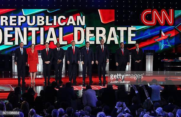 Republican presidential candidates Ohio Gov John Kasich Carly Fiorina US Sen Marco Rubio Ben Carson Donald Trump US Sen Ted Cruz Jeb Bush New Jersey...