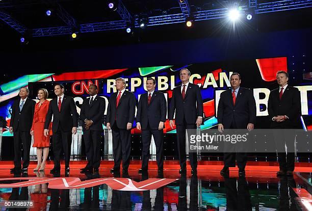 Republican presidential candidates Ohio Gov John Kasich Carly Fiorina Sen Marco Rubio Ben Carson Donald Trump Sen Ted Cruz Jeb Bush New Jersey Gov...