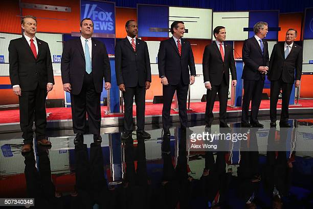 Republican presidential candidates Ohio Governor John Kasich Jeb Bush Sen Marco Rubio Sen Ted Cruz Ben Carson New Jersey Governor Chris Christie and...