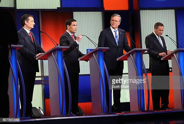 Republican presidential candidates Ohio Governor John Kasich Jeb Bush Sen Marco Rubio and Sen Ted Cruz participate in the Fox News Google GOP Debate...