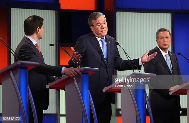 Republican presidential candidates Ohio Governor John Kasich Jeb Bush and Sen Marco Rubio participate in the Fox News Google GOP Debate January 28...