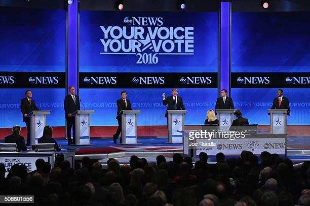 Republican presidential candidates Ohio Governor John Kasich Jeb Bush Sen Marco Rubio Donald Trump Sen Ted Cruz and Ben Carson participate in the...