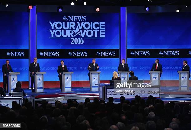 Republican presidential candidates Ohio Governor John Kasich Jeb Bush Sen Marco Rubio Donald Trump Sen Ted Cruz Ben Carson and New Jersey Governor...