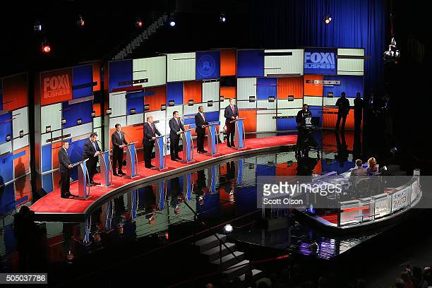 Republican presidential candidates Ohio Governor John Kasich New Jersey Governor Chris Christie Sen Marco Rubio Donald Trump Sen Ted Cruz Ben Carson...