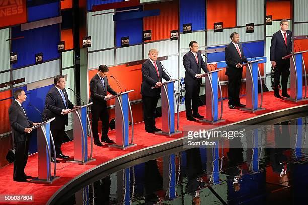 Republican presidential candidates Ohio Governor John Kasich New Jersey Governor Chris Christie Sen Marco Rubio Donald Trump Sen Ted Cruz Ben Carson...