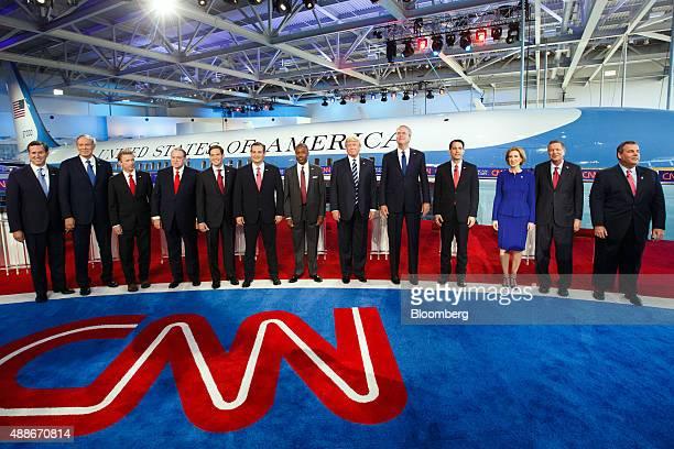 Republican presidential candidates Rick Santorum former senator from Pennsylvania from left George Pataki former governor of New York Senator Rand...