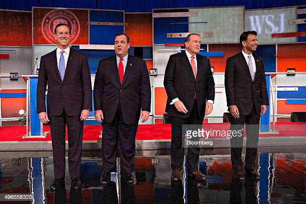 Republican presidential candidates Rick Santorum former senator from Pennsylvania from left Chris Christie governor of New Jersey Mike Huckabee...