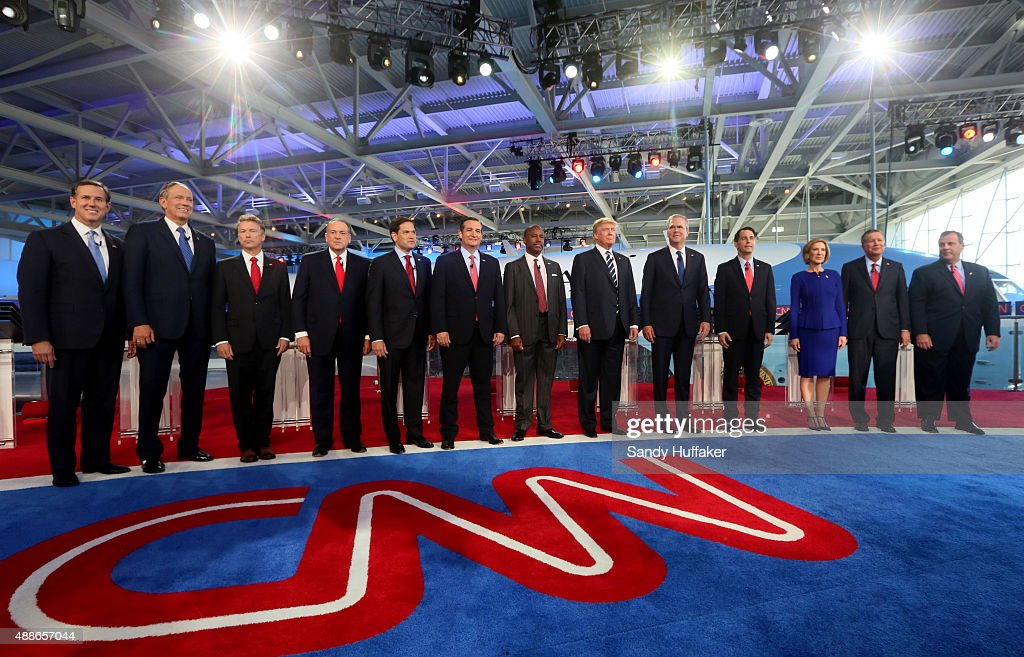Republican presidential candidates (L-R) Rick Santorum, George Pataki, U.S. Sen. Rand Paul (R-KY), Mike Huckabee, U.S. Sen. Marco Rubio (R-FL) , U.S. Sen. Ted Cruz (R-TX), Ben Carson, Donald Trump, Jeb Bush, Wisconsin Gov. Scott Walker, Carly Fiorina, Ohio Gov. John Kasich and New Jersey Gov. Chris Christie stand onstage during the presidential debates at the Reagan Library on September 16, 2015 in Simi Valley, California. Fifteen Republican presidential candidates are participating in the second set of Republican presidential debates.