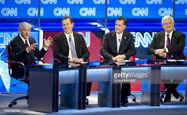 Republican presidential candidates Ron Paul Rick Santorum Mitt Romney and Newt Gingrich debate on February 22 2012 in Mesa Arizona The Arizona and...