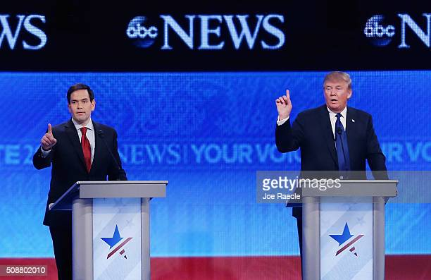 Republican presidential candidates Sen Marco Rubio and Donald Trump participate in the Republican presidential debate at St Anselm College February 6...