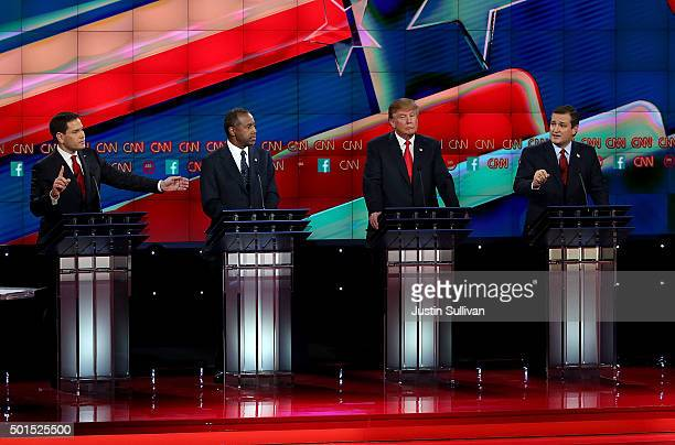 Republican presidential candidates Sen Marco Rubio Ben Carson Donald Trump and Sen Ted Cruz on stage during the CNN republican presidential debate at...