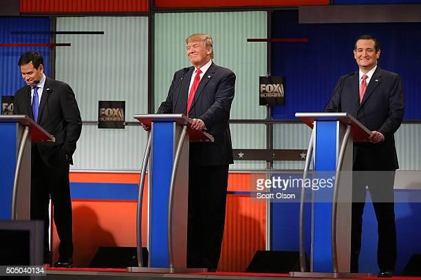 Republican presidential candidates Sen Marco Rubio Donald Trump and Sen Ted Cruz participate in the Fox Business Network Republican presidential...
