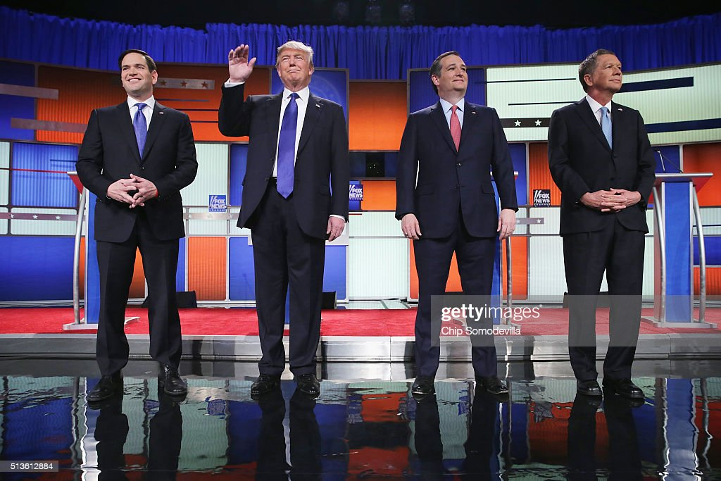Republican presidential candidates (Lto R) Sen. Marco Rubio (R-FL), Donald Trump, Sen. Ted Cruz (R-TX), and Ohio Gov. John Kasich, participates in a debate sponsored by Fox News on March 3, 2016 in Detroit, Michigan. Voters in Michigan will go to the polls March 8 for the State's primary.