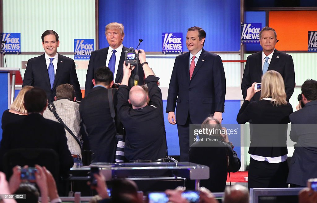 Republican presidential candidates (Lto R) Sen. Marco Rubio (R-FL), Donald Trump, Sen. Ted Cruz (R-TX), and Ohio Gov. John Kasich participate in a debate sponsored by Fox News on March 3, 2016 in Detroit, Michigan. Voters in Michigan will go to the polls March 8 for the State's primary.