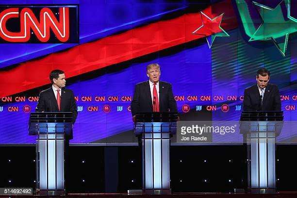 Republican presidential candidates Sen Marco Rubio Donald Trump Sen Ted Cruz and Ohio Gov John Kasich debate during the CNN Salem Media Group The...