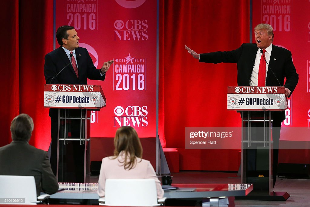 Republican presidential candidates (L-R) Sen. Ted Cruz (R-TX) and Donald Trump participate in a CBS News GOP Debate February 13, 2016 at the Peace Center in Greenville, South Carolina. Residents of South Carolina will vote for the Republican candidate at the primary on February 20.
