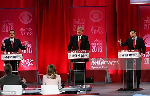 Republican presidential candidates Sen Ted Cruz Donald Trump and Sen Marco Rubio participate in a CBS News GOP Debate February 13 2016 at the Peace...