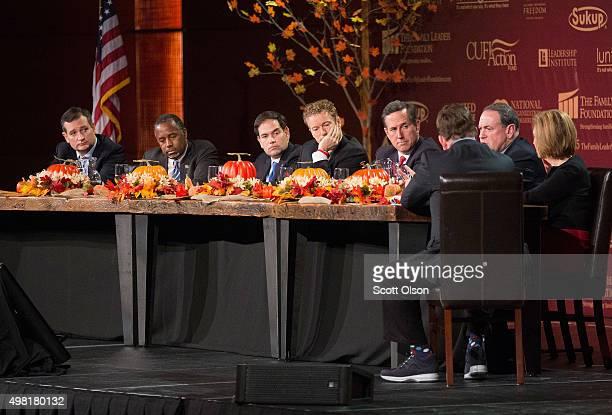 Republican presidential candidates Ted Cruz Ben Carson Sen Marco Rubio Sen Rand Paul Rick Santorum Mike Huckabee Carly Fiorina and moderator Frank...