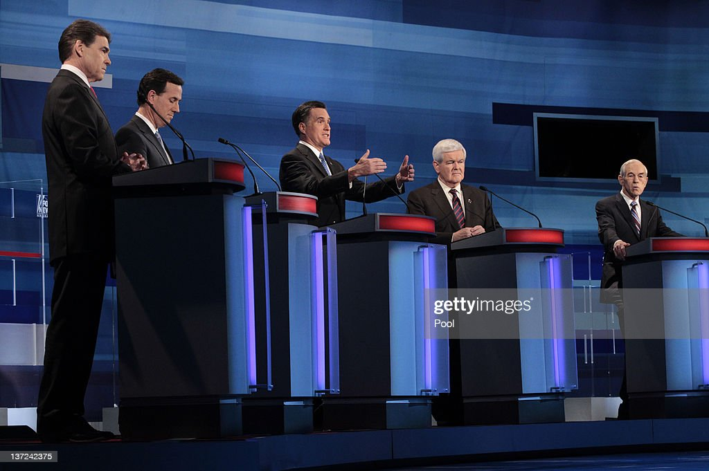 Republican presidential candidates (L-R) Texas Gov. Rick Perry, former U.S. Sen. Rick Santorum of Pennsylvania, former Massachusetts Gov. Mitt Romney, former U.S. House Speaker Newt Gingrich and U.S. Rep. Ron Paul (R-TX) participate in a Fox News, Wall Street Journal-sponsored debate at the Myrtle Beach Convention Center on January 16, 2012 in Myrtle Beach, South Carolina. Voters in South Carolina will head to the polls on January 21 to vote in the Republican primary election to pick their choice for U.S. presidential candidate.