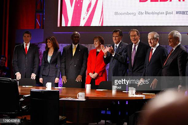 Republican presidential candidates Texas Gov Rick Perry Herman Cain former governor of Massachusetts Mitt Romney US Rep Ron Paul former US Speaker of...