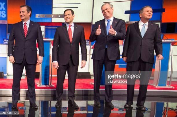 Republican Presidential candidates Texas Senator Ted Cruz Florida Senator Marco Rubio former Florida Gov Jeb Bush and Ohio Gov John Kasich arrive for...